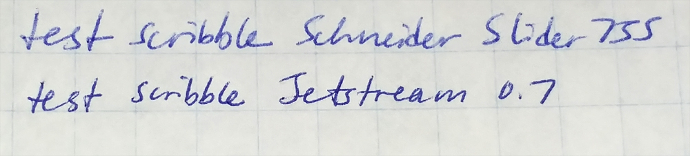 Schneider Slider 755 vs Jetstream 0.7 test scribble on low-quality paper